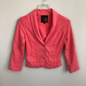 G By Guess Cropped Blazer Jacket Coral Stretch XS